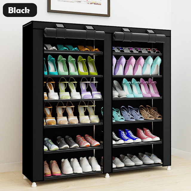 43.3 Inch 7 Layer 9 Grid Non Woven Fabrics Large Shoe Rack Organizer  Removable Shoe Storage For Home Furniture Shoe Cabinet