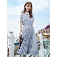 Cute High Waist Ribbon Collar Pleated Chiffon Dress for Women Kawaii Ladies Summer Elastic Waist Pearl Button Chiffon Dresses