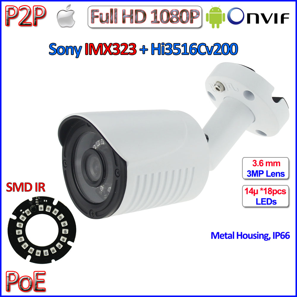 HOT ONVIF 2.4 ip camera 1080P CCTV Sony IMX323 2MP outdoor ip camera POE, WDR, 3MP 3.6mm HD Lens, bracket, H.264, P2P Security 1080p mini ip camera imx323 sensor 2mp indoor outdoor dome camera night vision cctv 3mp hd lens h 264 265 p2p onvif 2 4 full hd