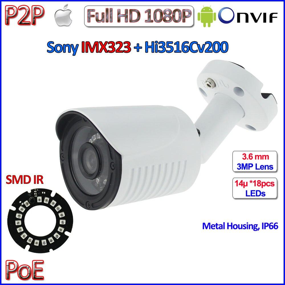 imágenes para ONVIF 2.4 cámara ip 1080 P CCTV Sony IMX323 CALIENTE 2MP POE cámara ip al aire libre, WDR, 3MP 3.6mm Lente HD, soporte, H.264, P2P Seguridad