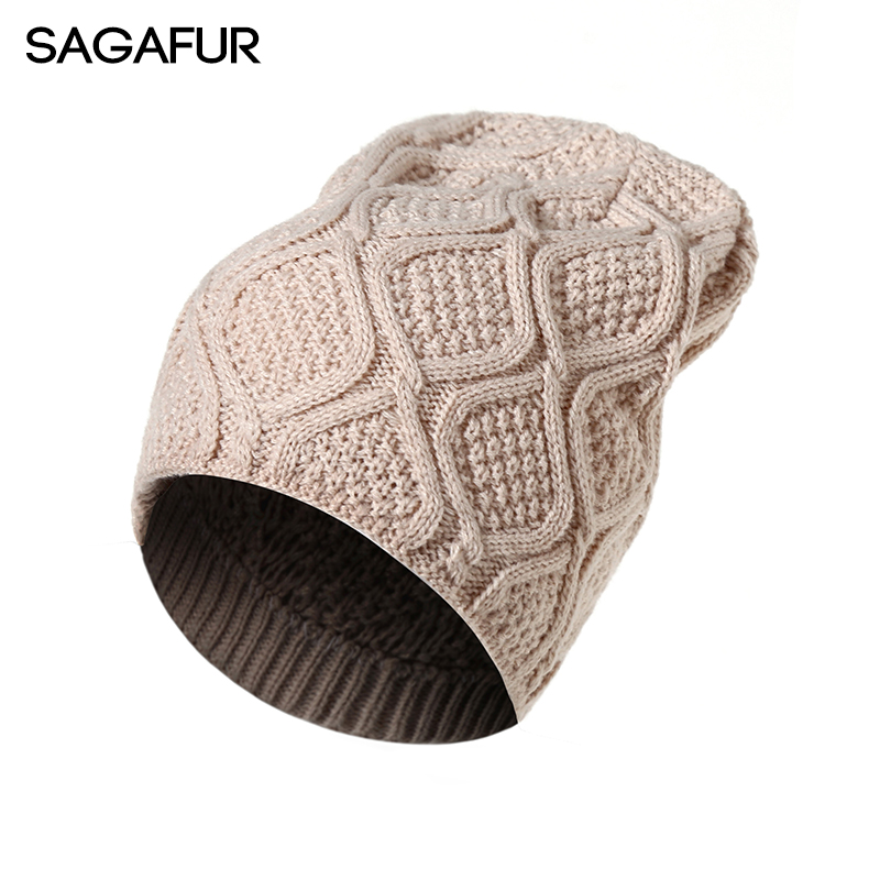 SAGAFUR Men'S Women'S Cap Cotton Beanie Hot Sale New Autumn Winter 2017 Fashion Knitted Hat Female Skullies Beanies  #CAP016 skullies hot sale female tide leather braids knitted cap autumn and winter women s curling ear warmers headgear 1866784