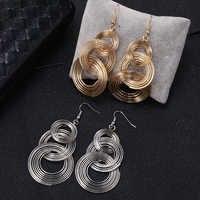 HOCOLE Mode Gold/Silber Metall Tropfen Ohrringe Für Frauen Charme Runde Baumeln Ohrring Erklärung 2019 Brincos Partei Schmuck Geschenke