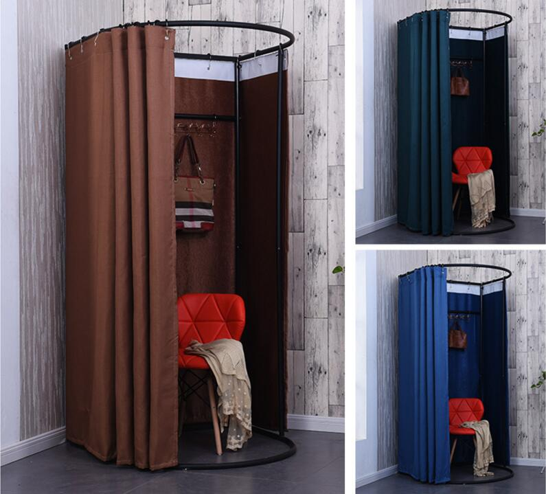 Temporary mobile fitting room, portable foldable simple dressing room display rack door curtainTemporary mobile fitting room, portable foldable simple dressing room display rack door curtain