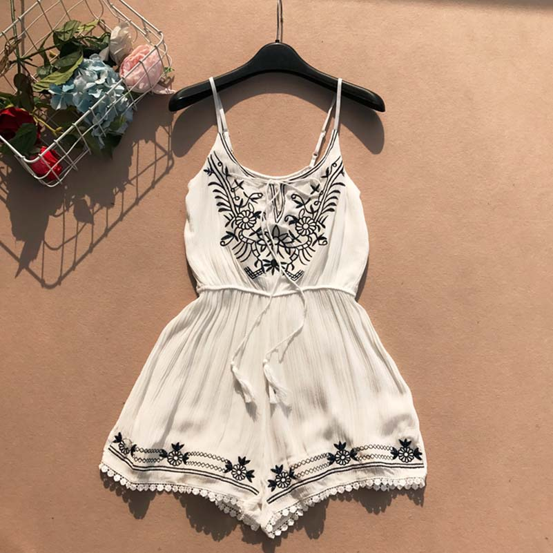 2019 Fashion Summer Short Playsuit Women Embroidery Floral Casual Rompers With Sashes Lace Up Jumpsuit Beach Clothes in Rompers from Women 39 s Clothing