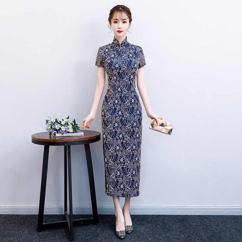 2019 ฤดูร้อน Cheongsam ใหม่สไตล์จีนชุดสตรีลูกไม้ Qipao ชุดบาง Lady ปุ่ม Vestido ขนาด S-4XL