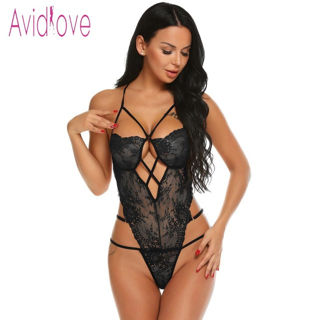 Avidlove Women Bodystocking Costumes One Piece Sexy Lingerie Bodysuit Halter Sheer Lace Teddy Nightwear 1