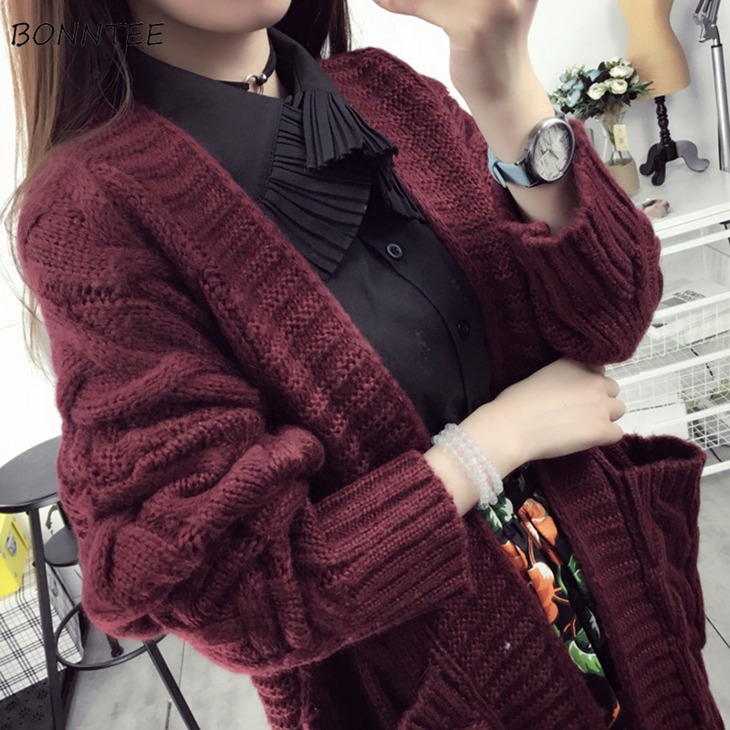 68419b08a40fb Sweaters Women Long Warm Thick Knitted Solid Korean Cardigan Simple Trendy  All match Elegant Cute Pockets Womens Outwear Student-in Cardigans from  Women's ...