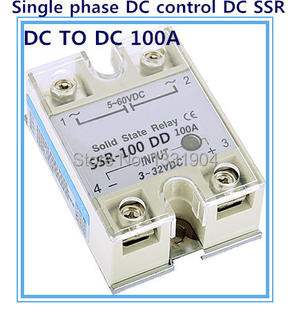 Free shipping Single phase solid state relay DC control  DC SSR-100DD 100A SSR relay input 5-60V DC output 3-32V DC 20dd ssr control 3 32vdc output 5 220vdc single phase dc solid state relay 20a yhd2220d