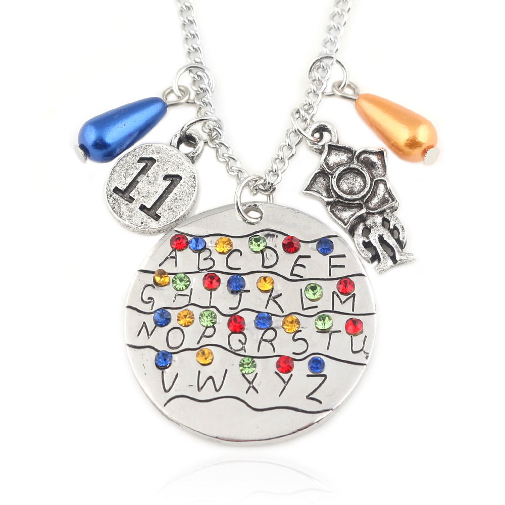 Stranger Things Pendant Necklace Eleven Letters Monster Handstamped Alphabet Light Wall Beads Charms Necklaces Women Men Jewelry