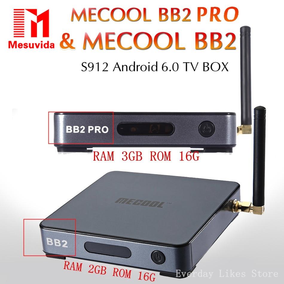 ФОТО Mesuvida MECOOL BB2 Pro Android TV Box Max RAM 2G/3G/16G Amlogic S912 Octa Core 4K H.265 2.4G/ 5G Dual Band WiFi BT smart Player
