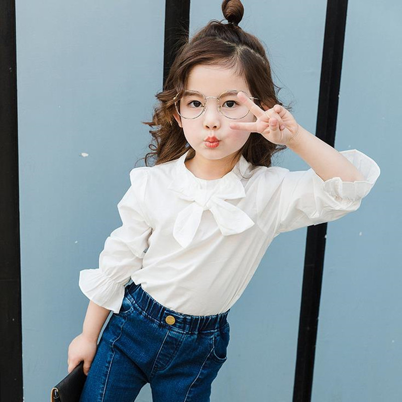 DFXD 2017 Girls Tops And   Blouses   New Autumn Fashion White Full Sleeve Princess Bowknot Cotton Girls School   Blouse     Shirts   2-8Y