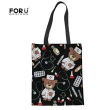 все цены на FORUDESIGNS Women Canvas Handbag Cartoon Doctor Nurse Bear Printed Shoulder Bag Female Large Capacity Ladies Beach Tote Shopping онлайн