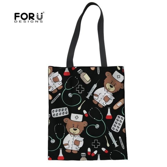 f7ed1d98f6b9 FORUDESIGNS Women Canvas Handbag Cartoon Doctor Nurse Bear Printed Shoulder  Bag Female Large Capacity Ladies Beach Tote Shopping