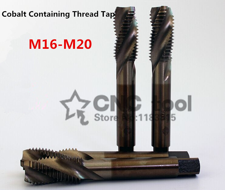 1PCS M16-M20 Containing Cobalt Machine Taps Spiral Groove Tap Special Stainless Steel Screw Tap (M16/M18/M20/M16*1.5/M18*1.5)