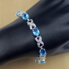 925 Sterling Silver Jewelry Blue Sapphire White Topaz Chain Link Bracelet For Women Free Gifts Box&Free Shipping S105 8mm solid pure sterling silver 925 mens chain bracelet simple cool style thai silver mens jewelry polished link chain free box
