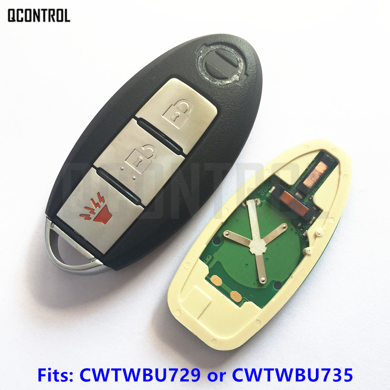 QCONTROL Car Smart Remote Key for Nissan Tiida Qashqai Altima Maxima Sentra Teana Xtrail FCC ID: CWTWBU729 or CWTWBU735 new car styling 2d led light logo auto emblems 3colors for nissan qashqai sylphy sentra teana altima best quality free shipping