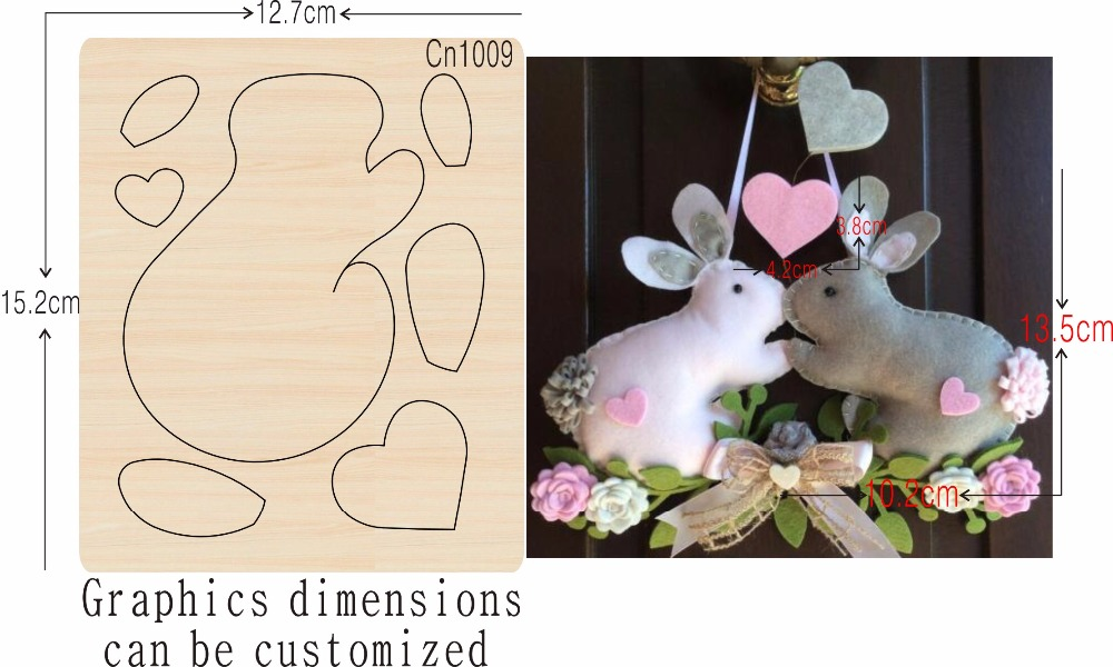 Rabbit Handmade Sewing Products new wooden mould cutting dies for scrapbooking Thickness 15 8mm