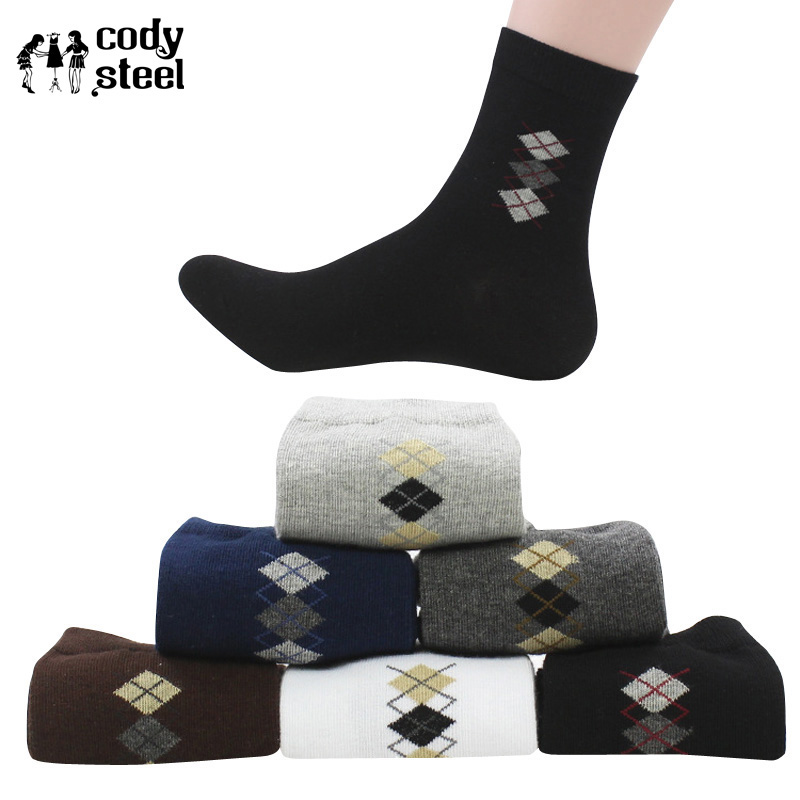 Underwear & Sleepwears Cody Steel Cotton Men Socks Designer In Tube Socks For Men Fashion All-match Small Diamond Socks Male 5pairs/lot