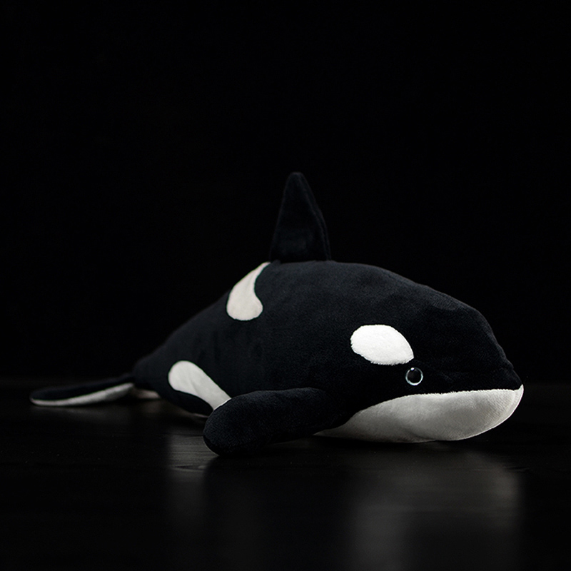 40cm Orcinus <font><b>Orca</b></font> Lifelike Fin Killer <font><b>Whale</b></font> Stuffed <font><b>Plush</b></font> Toy Soft Sea Animal Kids Simulation Ocean Marine Toy Gift Collection image