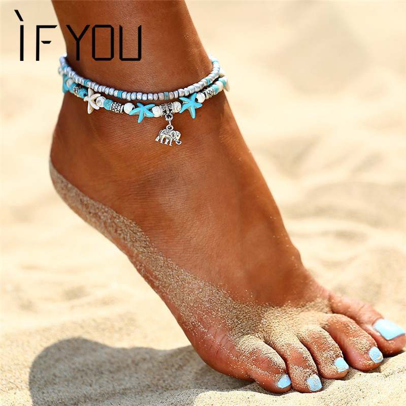 IF YOU Bohemia Elephant Pendant Anklet Foot Women Ankle Leg Jewelry Summer Beach Bead Shell Statement Chain Anklets