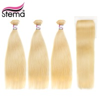 Stema Brazilian Straght Hair Blonde color 613 100% Human Hair Weaving 3Bundles with Closure Remy Hair Extension Free Shipping