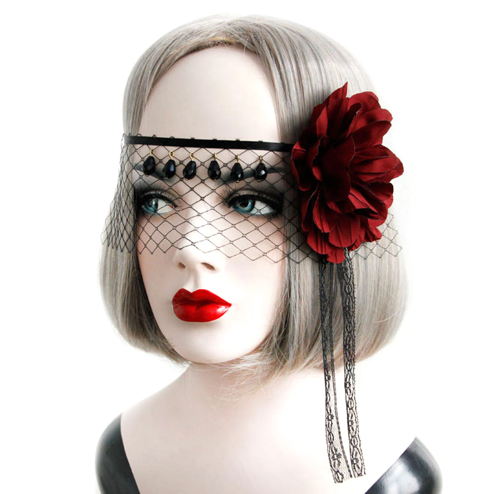 Black Lace Veil Covering Face Headdress Big Red Flower Headband Back Gothic COS Crystal Tussals   Headwear   For Halloween Party