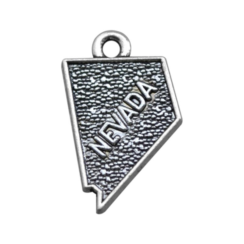my shape 60pcs 12*20mm Eco Friendly Alloy Metal United States Nevada Map Charms Pendant DIY Jewelry Making for Travelers