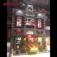 Telecool ledライトアップキット(のみ光セット)用消防隊ステーションクリエーター都市ストリートモデル10197用子供クリスマスギフ