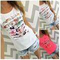 2016 color de moda de verano impreso hollow beads gris blanco rosa mujeres de manga corta cuello redondo camiseta