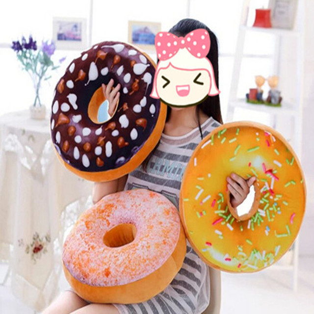 One piece 3D plush toy doughnut cushion,sweet pillow gift home room decorations party children kids girls love coffee tea couch