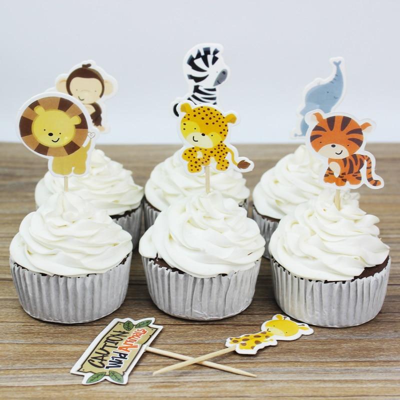 24 հատ / շատ Wild Animal Party cupcake toppers- ը - Տոնական պարագաներ - Լուսանկար 3