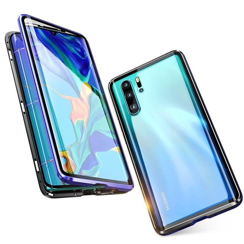 Luxe Magnetische Case 360 Voor + Back Dubbelzijdig 9 H Gehard Glas Screen Metal Bumper Cover Voor Huawei P30pro 6.2 Inch Ks0110