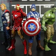 Hot! New 4 PCS/set 20 cm Avengers Super héros Captain America Thor Hulk Iron Man PVC Action Figure modèle jouets cadeau de noël jouet
