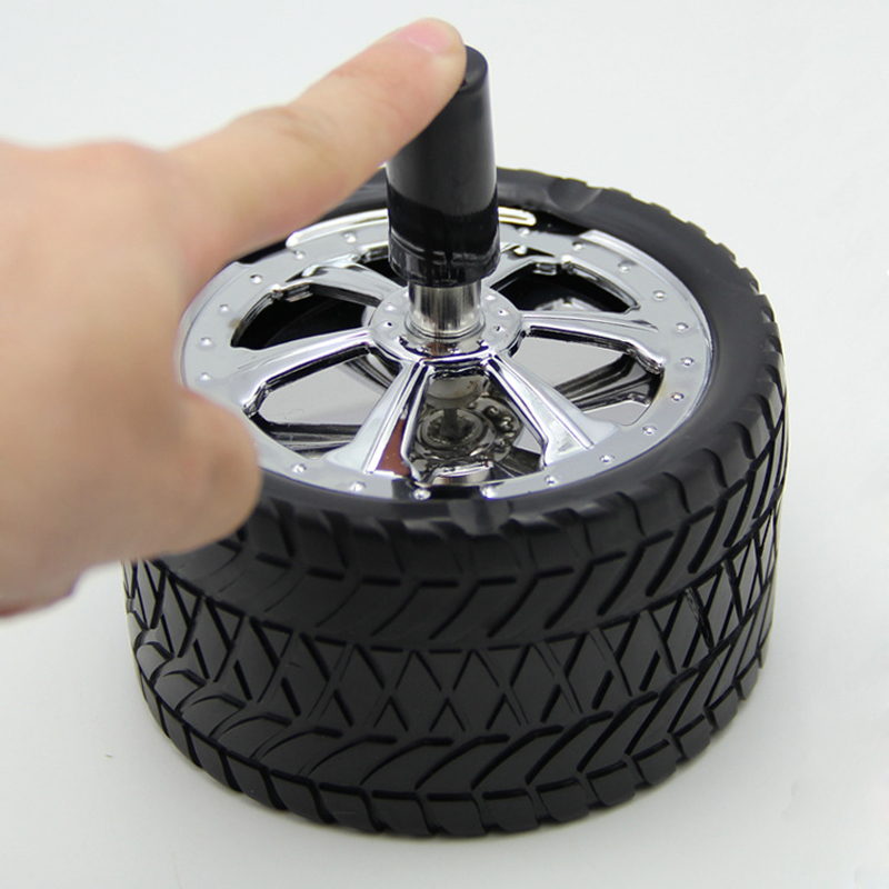 Car Creative Tyre Hub Rotating Style Fashion Ash Tray Alloy Round Smokeless Press Up Ashtray