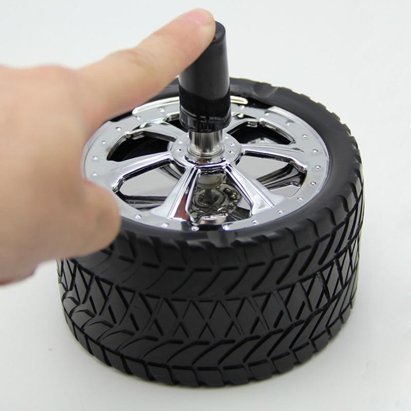 Car Creative Tyre Hub Rotating Style Fashion Ash Tray Alloy Round Smokeless Press Up Ashtray