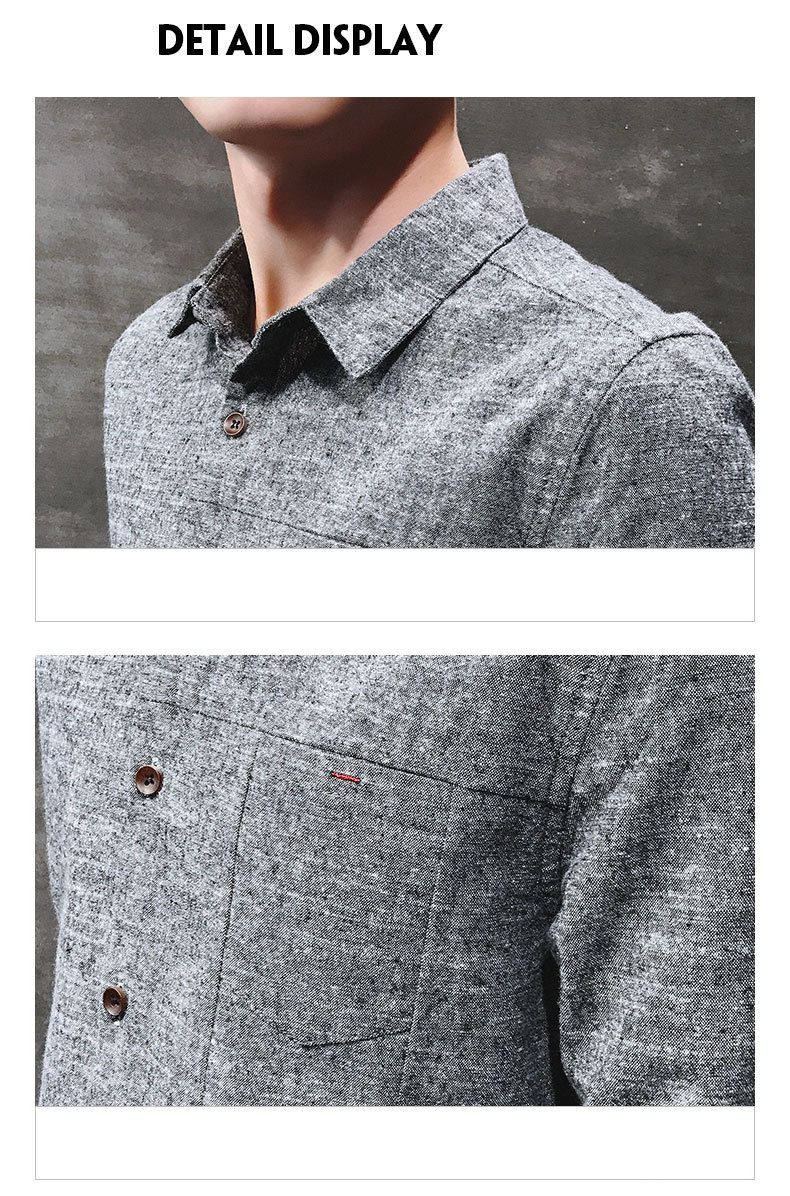 2019 spring new men's shirt Korean version of the self-cultivation youth casual business cotton shirt tide men's boutique shirt 44