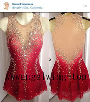 Red Figure Skating Dresses Women Competition Skating Dress Custom Ice Figure Skating Clothing For Girls Free Shpping