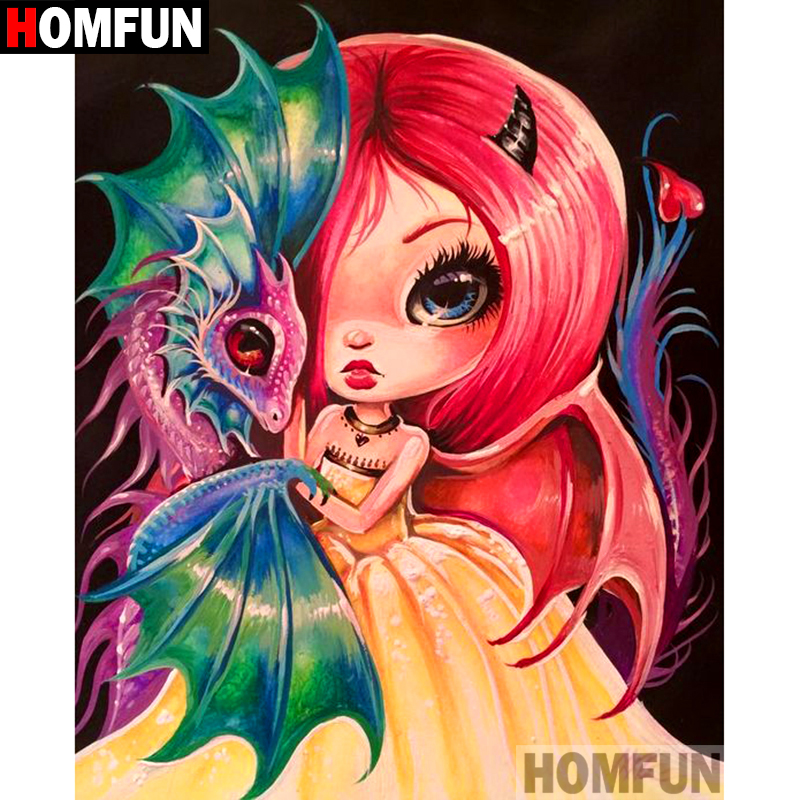 """HOMFUN 5D DIY Diamond Painting Full Square/Round Drill """"Cartoon girl"""" 3D Embroidery Cross Stitch gift Home Decor A10000"""