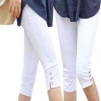 2016 Summer Style Candy Color Capris Pants Women Thin Summer Pants Ladies High Waist Elastic Plus