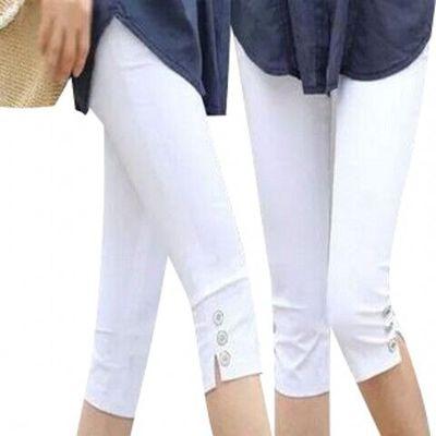 Plue size S-4XL Summer Style Candy Color Capris Pants Women Thin Summer Pants Ladies High Waist Elastic Plus Size S-XXL Pants