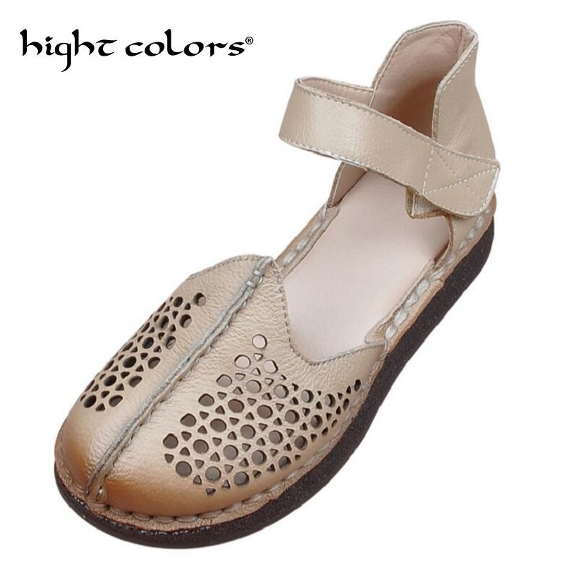 Hollow Out Genuine Leather Shoes Women Solid Sandals Women Flats Spring Summer Flat Shoes Woman Moccasins Size 35 41