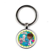 Doc Mcstuffins Children Cartoon Keychain Dottie Girl Figure Pattern Glass Cabochon Toy  Key chain Kids Jewelry Gift