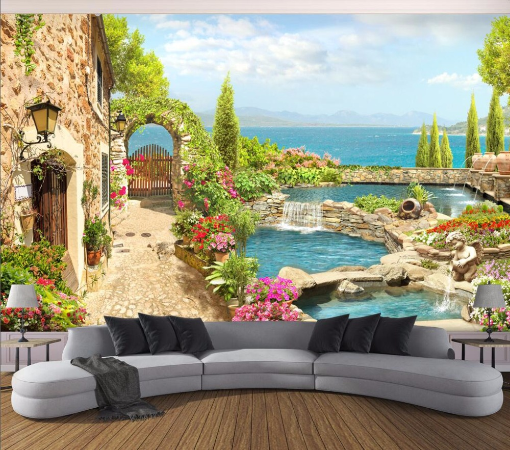 personnalis mural photo 3d papier peint jardin paysage photo d coration peinture 3d peintures. Black Bedroom Furniture Sets. Home Design Ideas