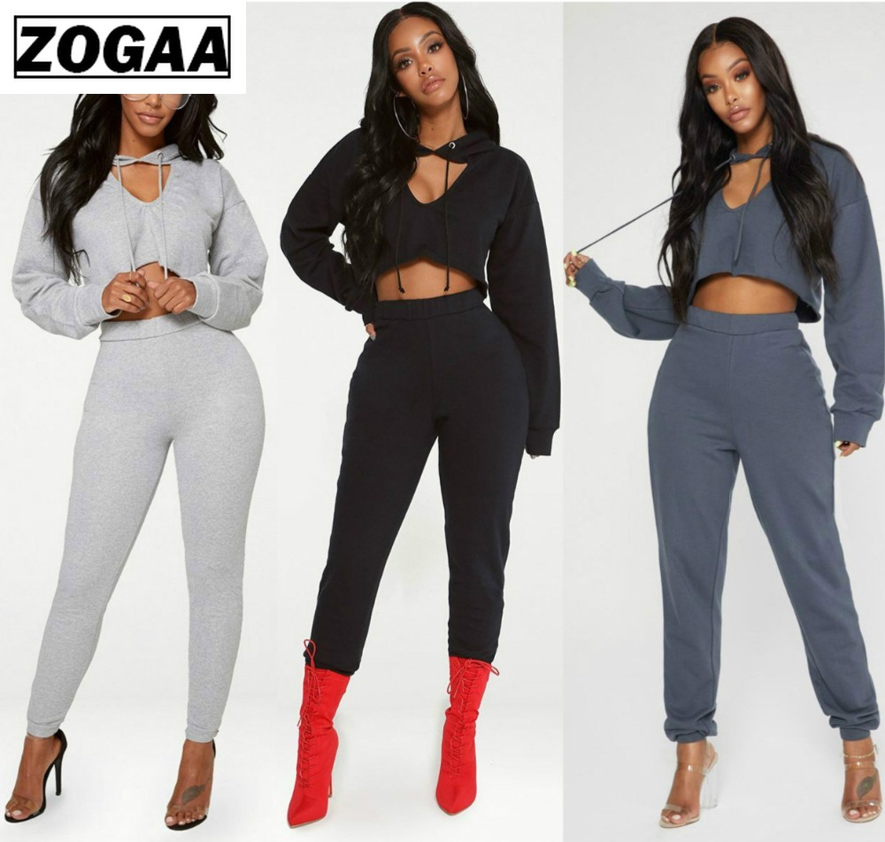 2019 Fashion Long Sleeve Crop Top & Skinny Pant Suit Set Two-Piece Suits Sporting Suit Female 2pcs Set Fitness Sexy Outfits Sets