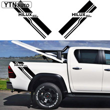 customize FOR TOYOTA HILUX VIGO REVO car accessoriesmodified stickers 2PC rear trunk off road stripe graphic Vinyl pickup decals все цены