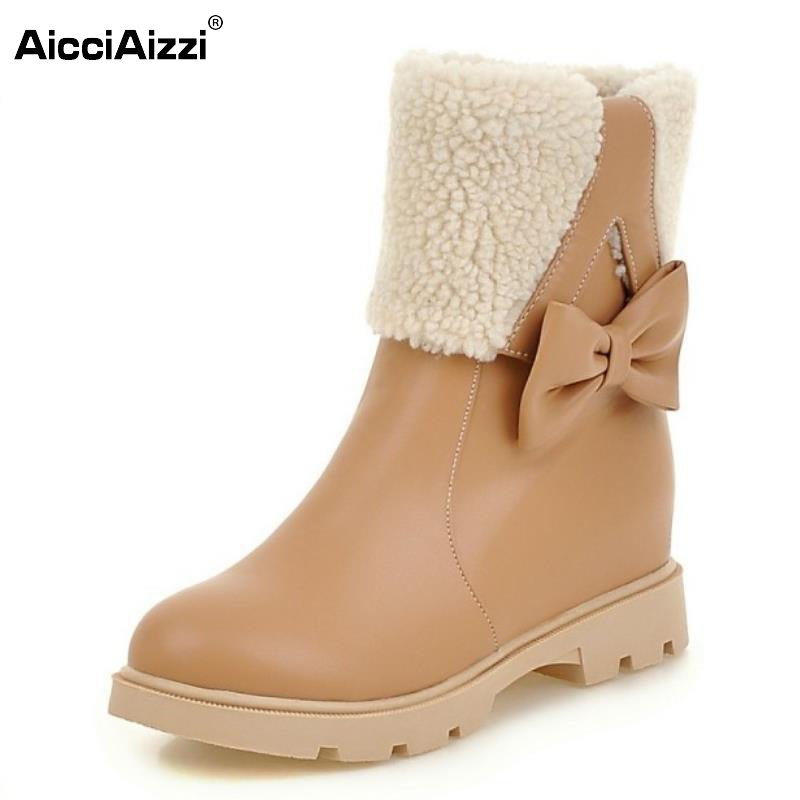 Women Snow Boots Female Short Ankle Boot Big Bowtie Platform Comfortable Winter Warm Fur Inside Winter Shoes Woman Size 34-43