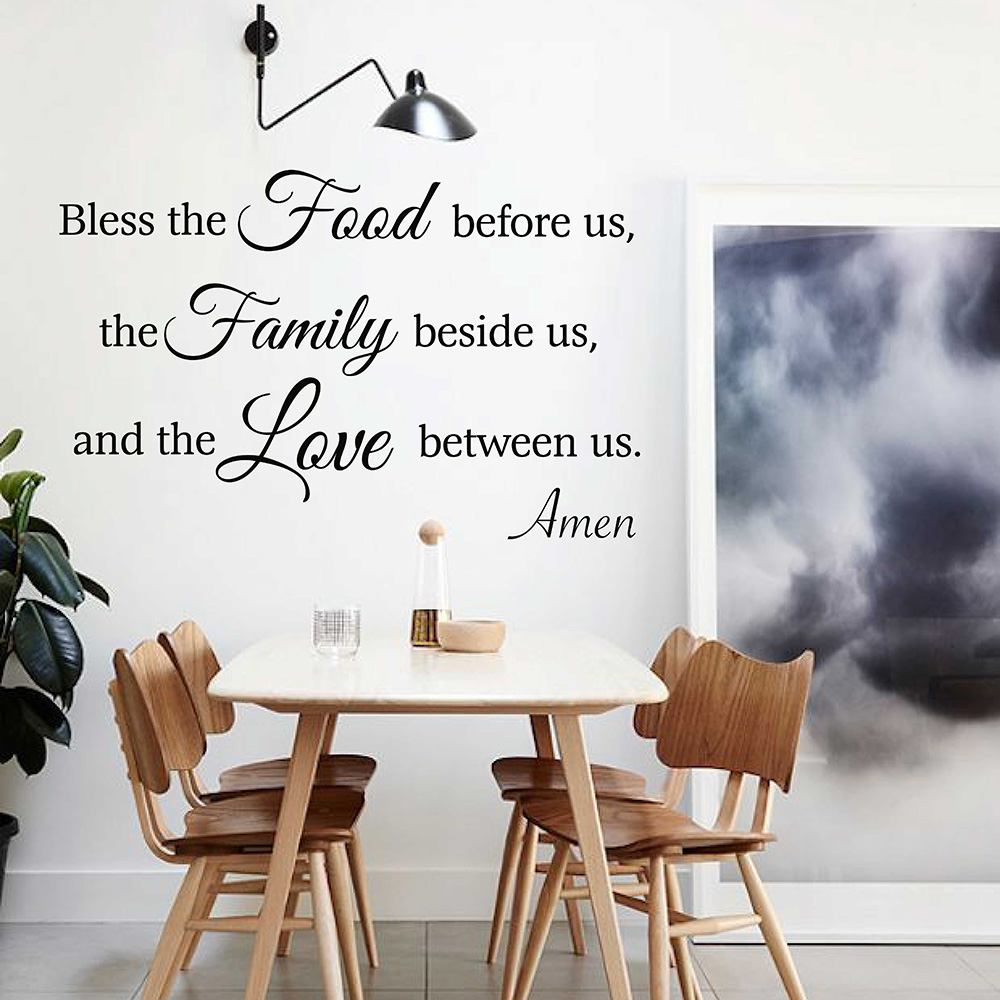 Bless the Food Before Us Kitchen Dining Room Wall Decal Meal Prayer Wall Sticker Religious Dining Room Sticker 671Q