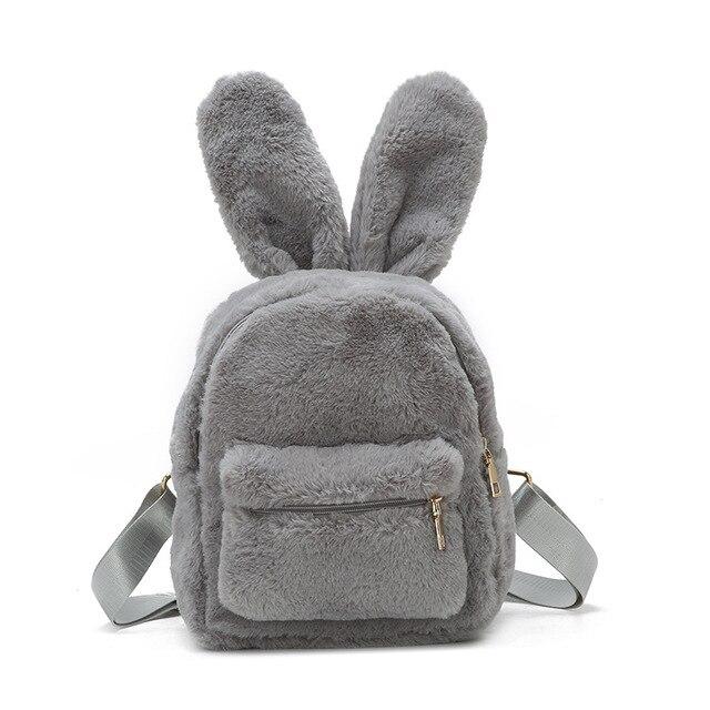 bc603ff04b 2018 Autumn Winter Faux Fur Mini Backpack Rabbit Ear Women Travel Bags Cute  Fashion Soft Plush Backpack School Bag for Girls
