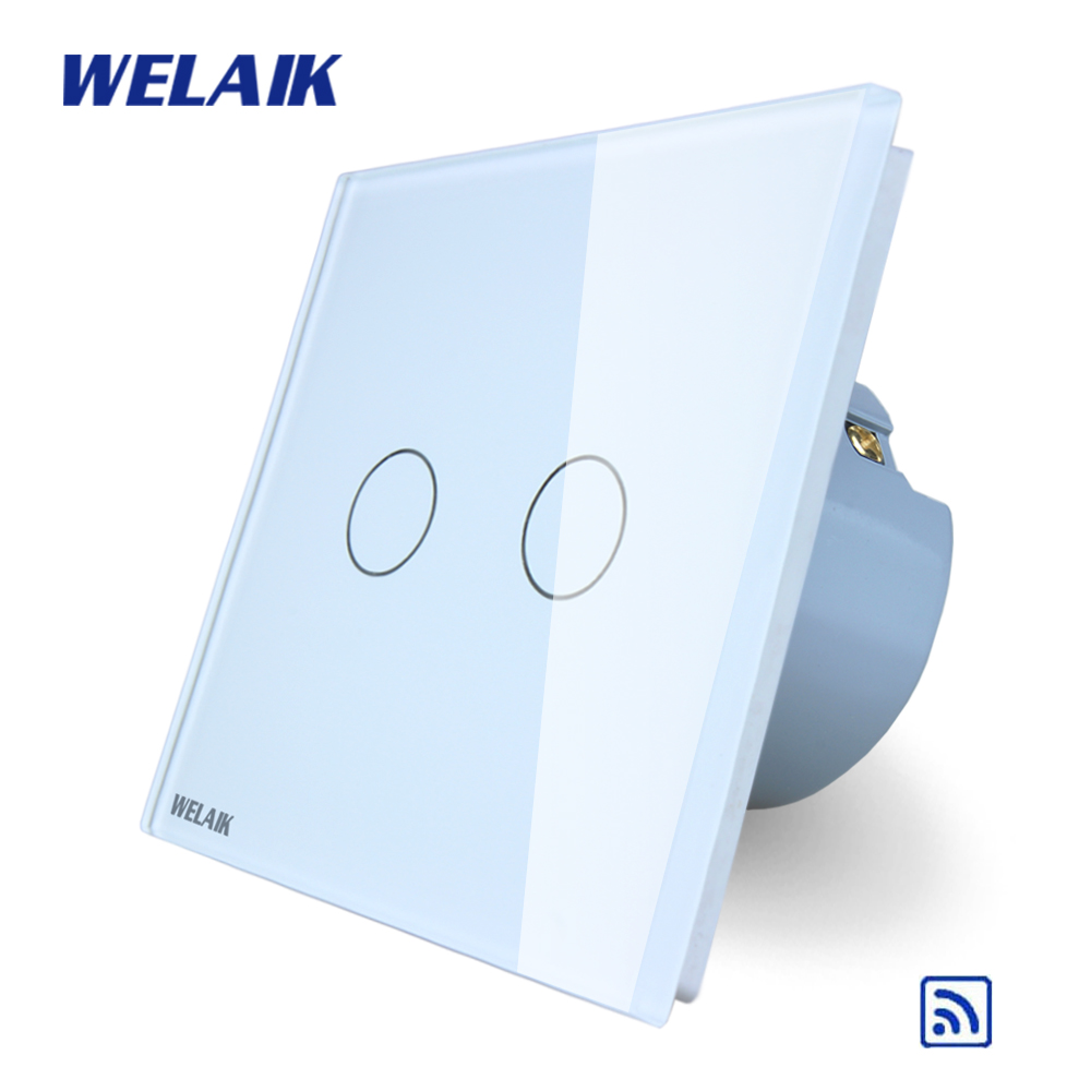 WELAIK  Glass Panel Switch White Wall Switch EU remote control Touch Switch Screen Light Switch 2gang1way AC110~250V A1923CW/B 2017 smart home crystal glass panel wall switch wireless remote light switch us 1 gang wall light touch switch with controller