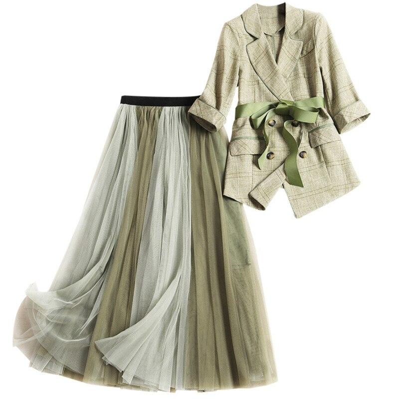 En 2 Green Top Pièces Army Lady Crop Bureau Recadrée Plaid Manteau Fashion Jupe Et Ensemble Costume Deux Printted 2019 Femmes Filet Spring nw1zYqFp